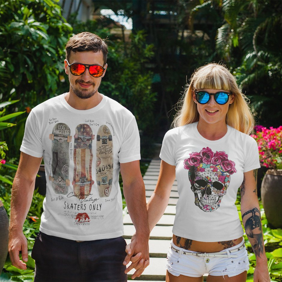 t shirt mockup featuring a joyful couple walking and holding hands 2256 el2 - Home