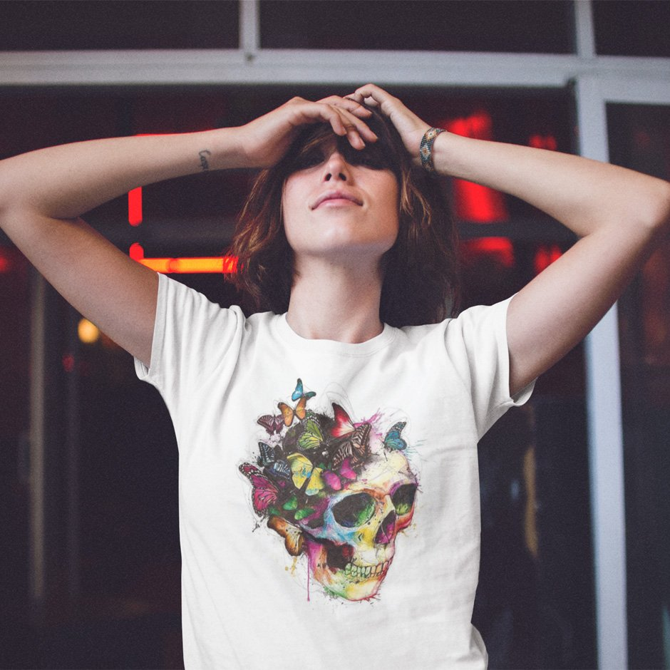 t shirt mockup of a skinny young woman grabbing her face while smiling and wearing a t shirt with red lights behind a13569 - Home